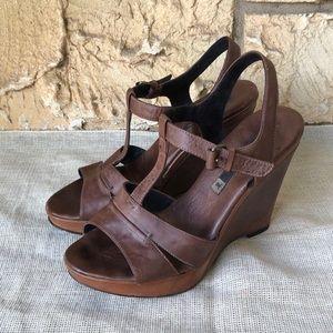 Alberto Fermani Leather Brown Sandals
